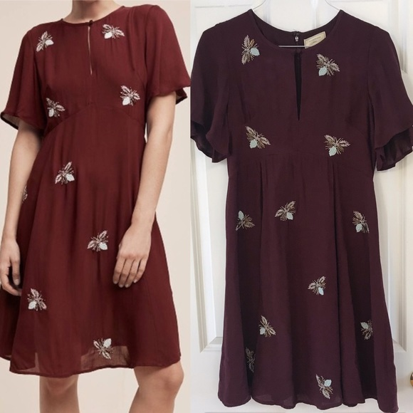 1415507d79ab3 Anthropologie Dresses & Skirts - Anthropologie   Flowy Maroon Firefly Bead  Dress 4